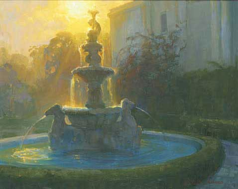 """American Legacy Fine Arts presents """"Neptune's Fountain at Sunset, Huntington Gardens, San Marino"""" a painting by Peter Adams"""