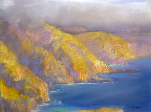 """American Legacy Fine Arts presents """"Fogbank over Catalina's Western Cliffs"""" a painting by Peter Adams"""