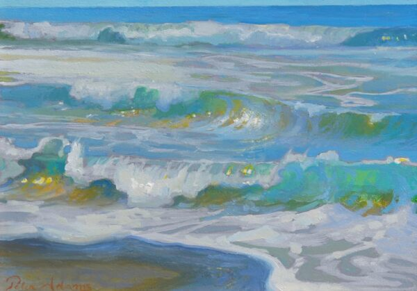 """American Legacy Fine Arts presents """"Morning Surf Glare; Oceanside, California"""" a painting by Peter Adams"""