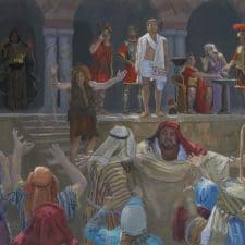 """American Legacy Fine Arts presents """"14 Stations of the Cross (1) Jesus is Condemned"""" a painting by Peter Adams."""