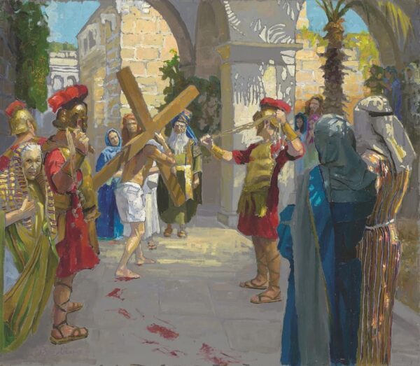 """American Legacy Fine Arts presents """"14 Stations of the Cross (2) Jesus is Given the Cross"""" a painting by Peter Adams."""