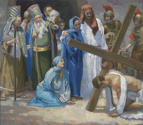 """American Legacy Fine Arts presents """"14 Stations of the Cross (3) Jesus Falls for the First Time"""" a painting by Peter Adams."""