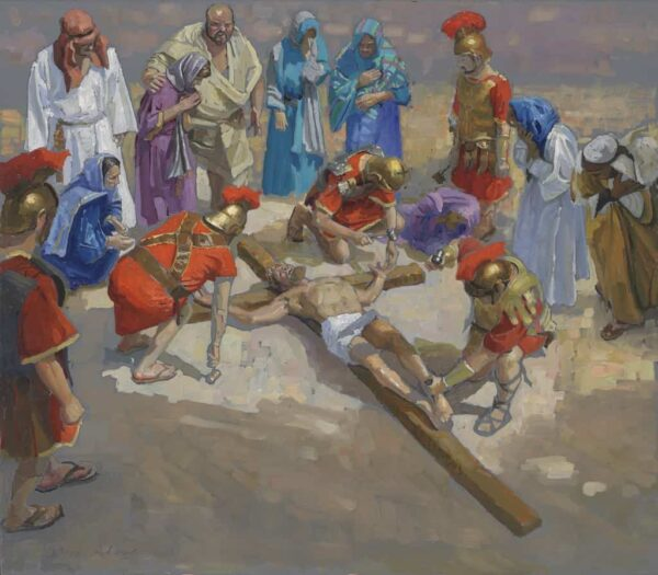 """American legacy Fine Arts presents """"14 Stations of the Cross (11) Jesus is Nailed to the Cross"""" a painting by Peter Adams."""