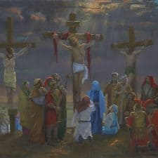 """American Legacy Fine Arts presents """"14 Stations of the Cross (12) The Crucifixion"""" a painting by Peter Adams."""
