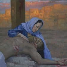 """American Legacy Fine Arts presents """"14 Stations of the Cross (13) Jesus is Taken Down from the Cross"""" a painting by Peter Adams."""