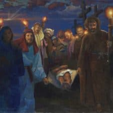 """American Legacy Fine Arts presents """"14 Stations of the Cross (14) The Entombment"""" a painting by Peter Adams."""