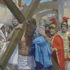 """American Legacy Fine Arts presents """"14 Stations of the Cross (4) Jesus Meets His Mother"""" a painting by Peter Adams."""