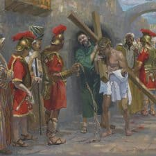 """American Legacy Fine Arts presents """"14 Stations of the Cross (5) Simon of Cyrene Helps Jesus Carry the Cross"""" a painting by Peter Adams."""