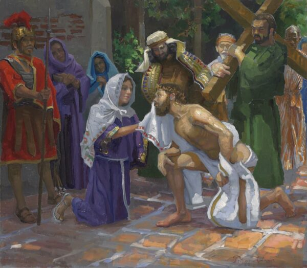 """American Legacy Fine Arts presents """"14 Stations of the Cross (6) Veronica Wipes Jesus' Face"""" a painting by Peter Adams."""