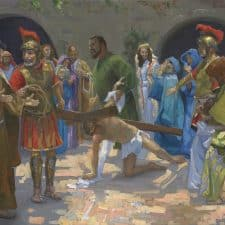 """American Legacy Fine Arts presents """"14 Stations of the Cross (7) Jesus Falls for the Second Time"""" a painting by Peter Adams."""