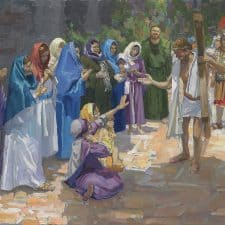 """American Legacy Fine Arts presents """"14 Stations of the Cross (8) Jesus Speaks to the Women of Jerusalem"""" a painting by Peter Adams."""