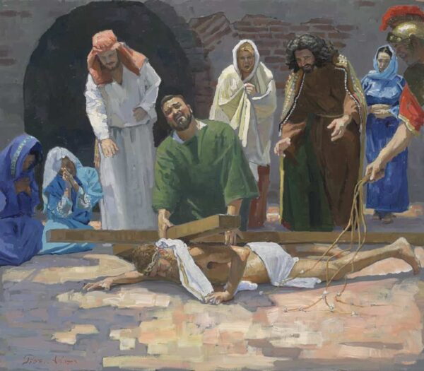 """American Legacy Fine Arts presents """"14 Stations of the Cross (9) Jesus Falls for the Third Time"""" a painting by Peter Adams."""