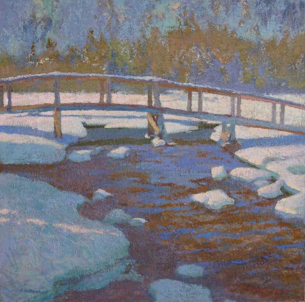"American Legacy Fine Arts presents ""Winter on Tamarack Bridge"" a painting by Daniel W. Pinkham."