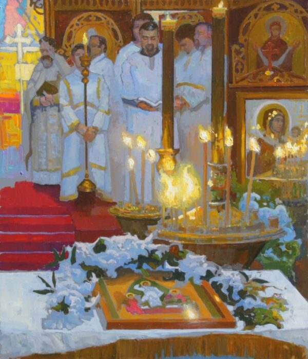 """American Legacy Fine Arts presents """"Paschal Service; Russian Orthodox Church"""" a painting by Peter Adams."""