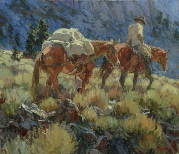 """American Legacy Fine Arts presents """"Below the Cliffs; Lee Vining, California"""" a painting by Suzanne Baker."""