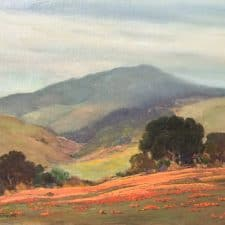 """American Legacy Fine Arts presents """"Untitled (California Landscape with Oaks and Poppies)"""" a painting by George Sanders Bickerstaff."""