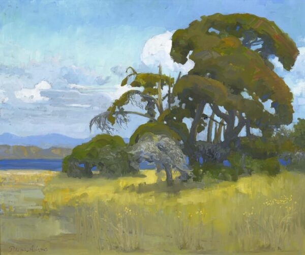 """American Legacy Fine Arts presents """"View of Guadalupe Lake from Cabrillo Highway"""" a painting by Peter Adams."""