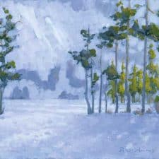 """American Legacy Fine Arts presents """"Winter at Castle Lake, Shasta, California"""" a painting by Peter Adams."""