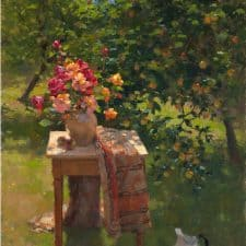 """American Legacy Fine Arts presents """"Summer Roses and Apples"""" a painting by Jim McVicker."""