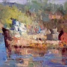 """American Legacy Fine Arts presents """"Sunset at Monterey Bay"""" a painting by Jove Wang."""