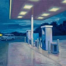 """American Legacy Fine Arts presents """"Night Gas"""" a painting by Tony Peters."""