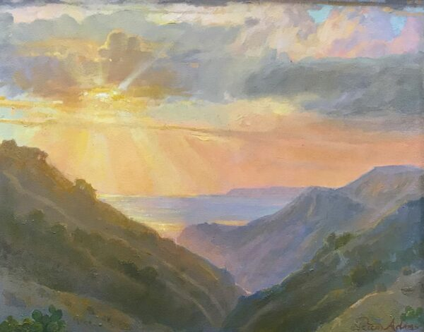 """American Legacy Fine Arts presents """"Sunset from the Fire Road,Catalina"""" a painting by Peter Adams."""