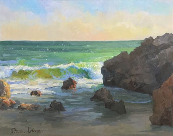 """American Legacy Fine Arts presents """"Windy Afternoon at Leo Carillo Beach"""" a painting by Peter Adams."""