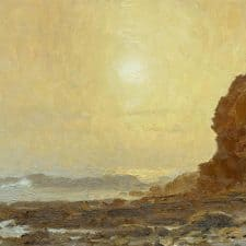 """American Legacy Fine Arts presents """"Misty Sunset at Cabrillo Beach"""" a painting by Stephen Mirich."""
