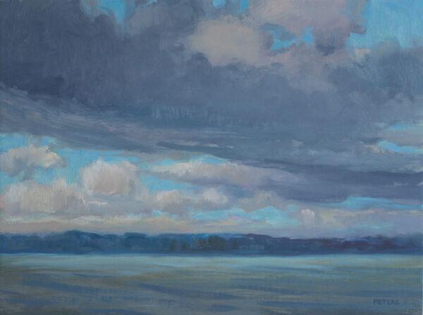 "American Legacy Fine Arts presents ""Lake Washington Three"" a painting by Tony Peters."