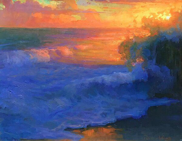 "American Legacy Fine Arts presents ""Evening Splash; Leo Carrillo Beach"" a painting by Peter Adams."