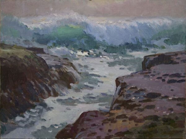 """American Legacy Fine Arts presents """"Shore Breakers at Aliso Beach"""" a painting by Ray Roberts."""