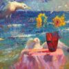 """American Legacy Fine Arts presents """"Seagulls and Shattered Sun"""" a painting by Christopher Cook."""