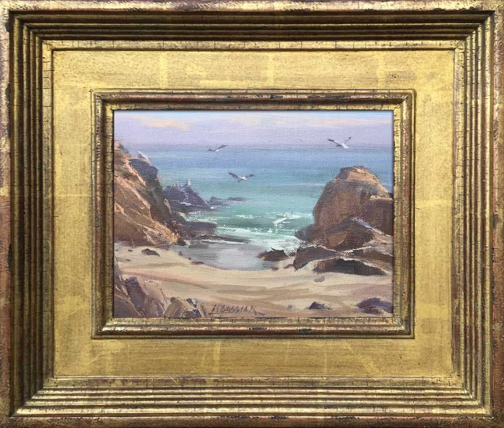 """American Legacy Fine Arts presents """"Peaceful Day at Leo Carrillo"""" a painting by Jean LeGassick."""