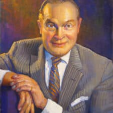 """American Legacy Fine Arts presents """" Portrait of Bob Hope"""" a painting by Peter Adams."""