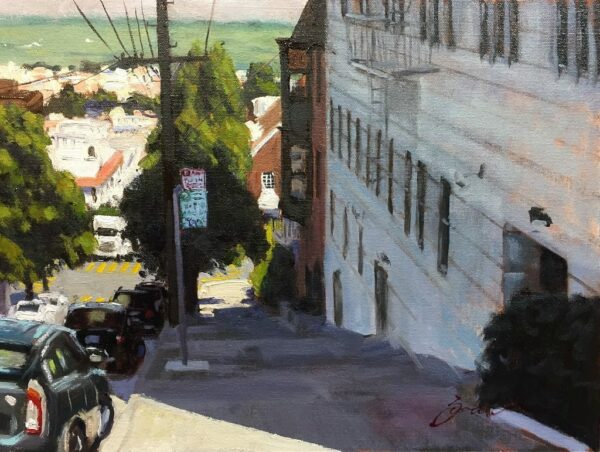 """American Legacy Fine Arts presents Buchanan Street View"""" a painting by Scott W. Prior."""