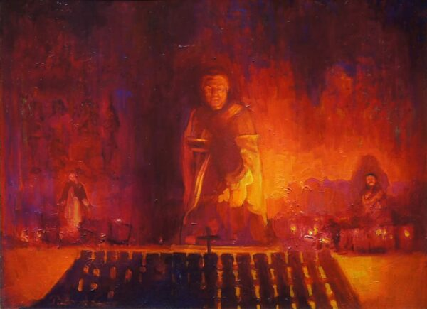 """American Legacy Fine Arts presents """"St. Peregrine Chapel Candlelight, Mission San Juan Capistrano"""" a painting by Peter Adams."""