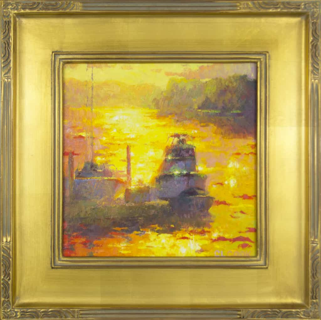 """American Legacy Fine Arts presents """"Harbor of Gold"""" a painting by Christopher Cook."""