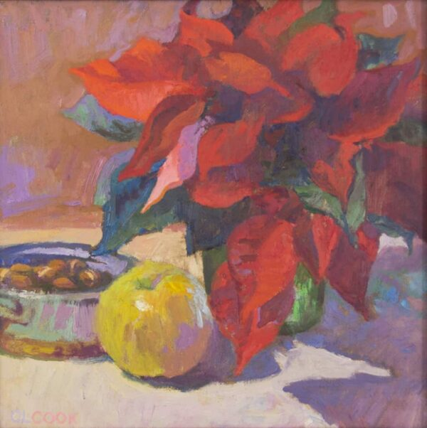 """American Legacy Fine Arts presents """"Cool Winter in Red and Gold"""" a painting by Christopher Cook."""