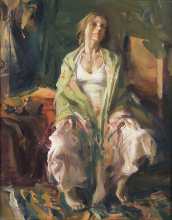 """American Legacy Fine Arts presents """"Daydream, The Spanish Shawl"""" a painting by Quang Ho."""