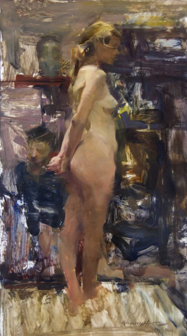 """American Legacy Fine Arts presents """"Standing Figure"""" a painting by Quang Ho."""