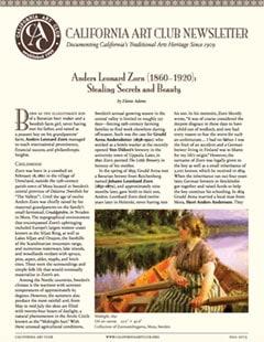 Anders Leonard Zorn Stealing Secrets and Beauty by Elaine Adams, California Art Club Newsletter