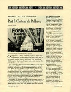 Art Travel Log 4 Part Series by Elaine Adams, California Art Club Newsletter, December 1997