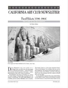 California Art Club Newsletter David Roberts by Elaine Adams