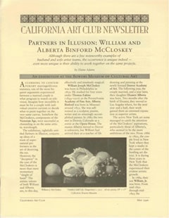 California Art Club Newsletter Partners in Illusion: William and Alberta Benford MCCloskey by Elaine Adams