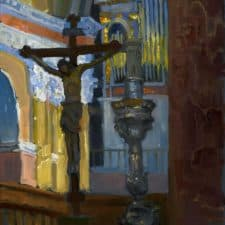 """American Legacy Fine Arts presents """"Altar at the Church of St. Saviour, Jerusalem"""" a painting by Peter Adams."""