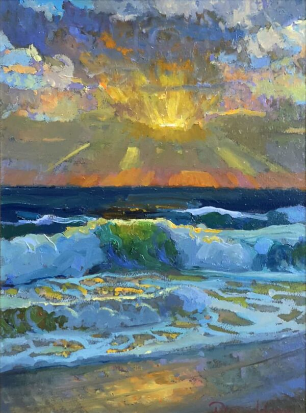 """American Legacy Fine Arts presents """"Christmas Sunset"""" a painting by Peter Adams."""