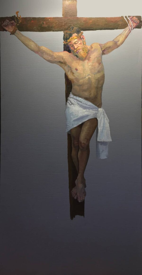 """American Legacy Fine Arts presents """"Life-Size Study for the Crucifixion"""" a painting by Peter Adams."""
