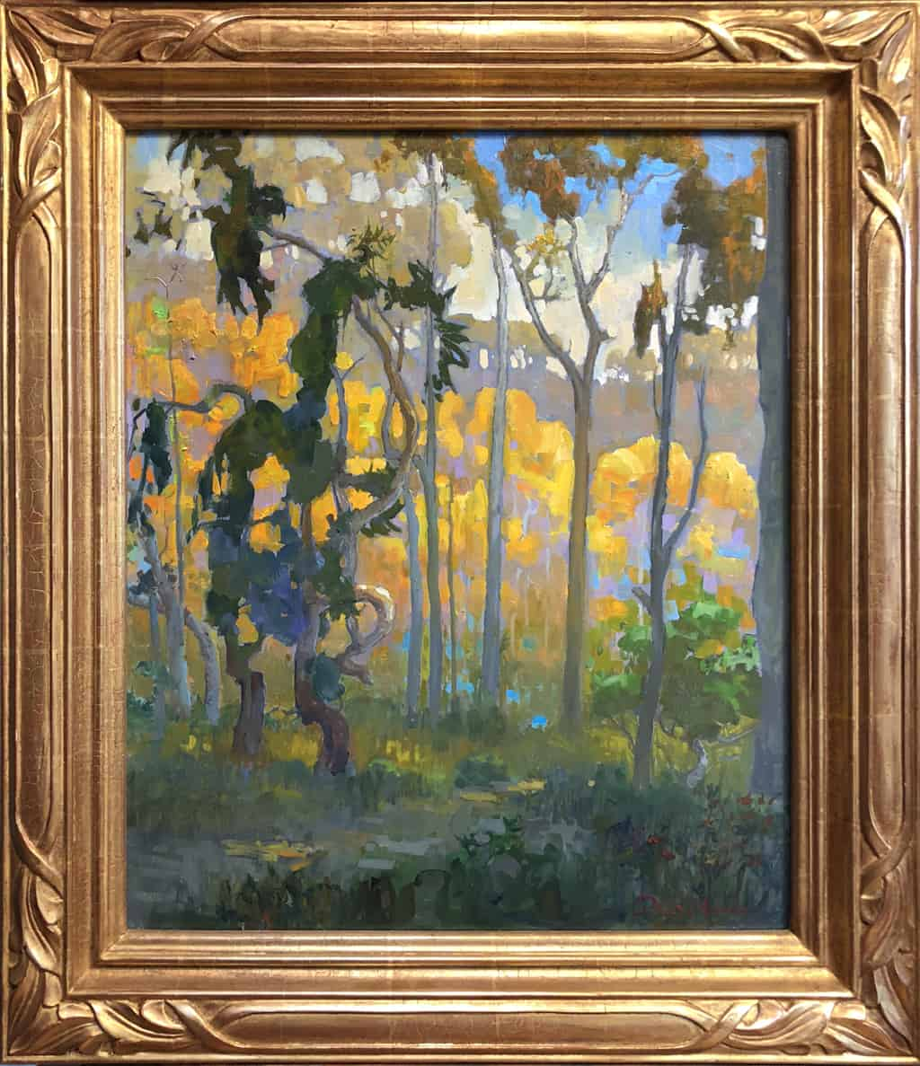 """American Legacy Fine Arts presents """"Light in the Eucalyptus Forest; Carlsbad"""" a painting by Peter Adams."""