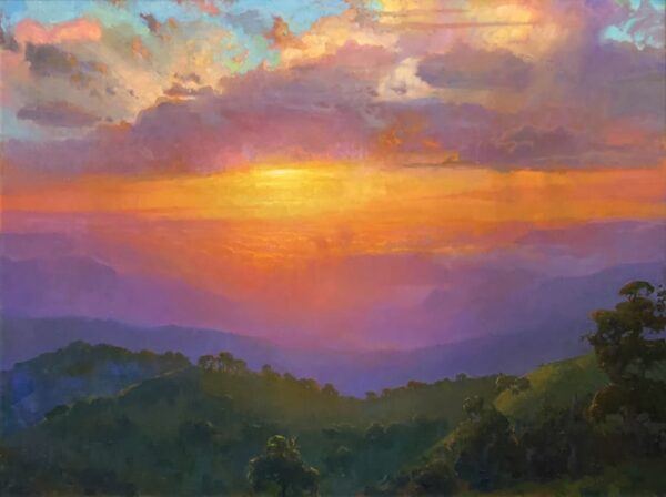 """American Legacy Fine Arts presents """"Transcendence, Sunset over Tejon Ranch"""" a painting by Peter Adams."""