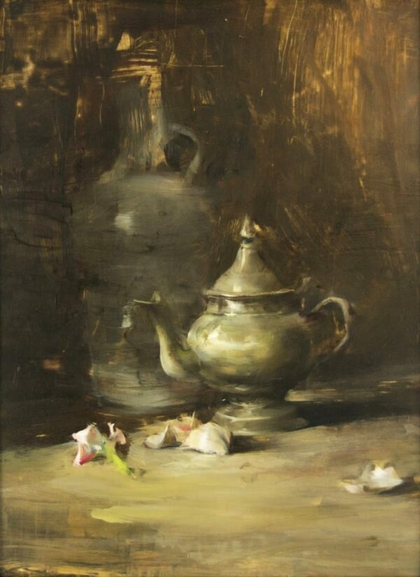 """American Legacy Fine Arts presents """"Still Life Arrangement with Pewter"""" a painting by Quang Ho."""